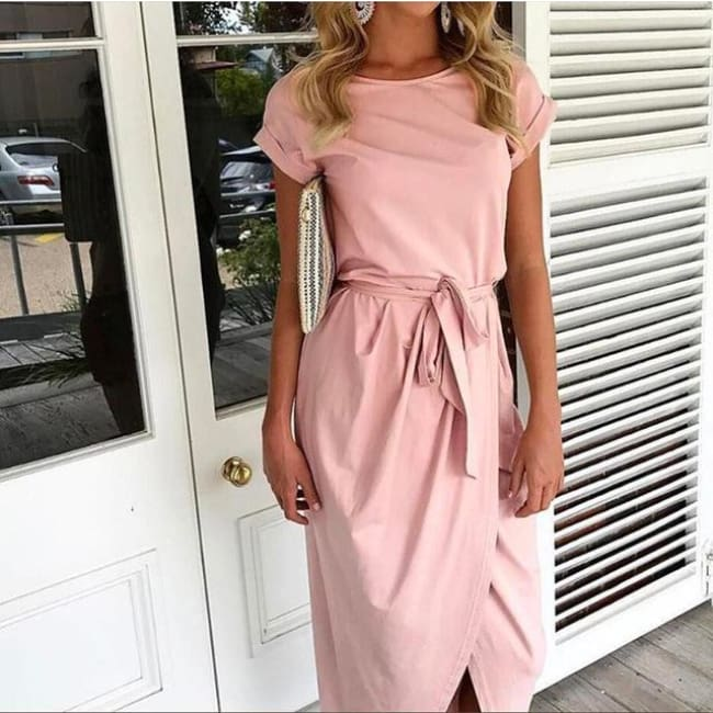 Casual Tunic Dress - Pink / S - Dresses