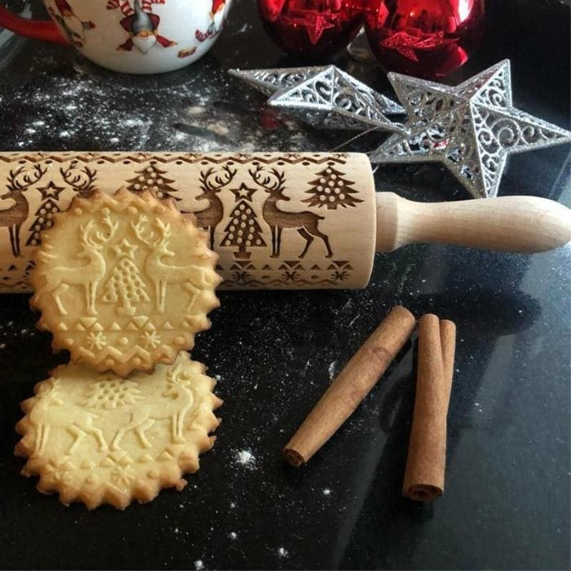 Christmas Embossing Rolling Pin - Christmas Reindeer Rolling Pin - Rolling Pins & Pastry Boards