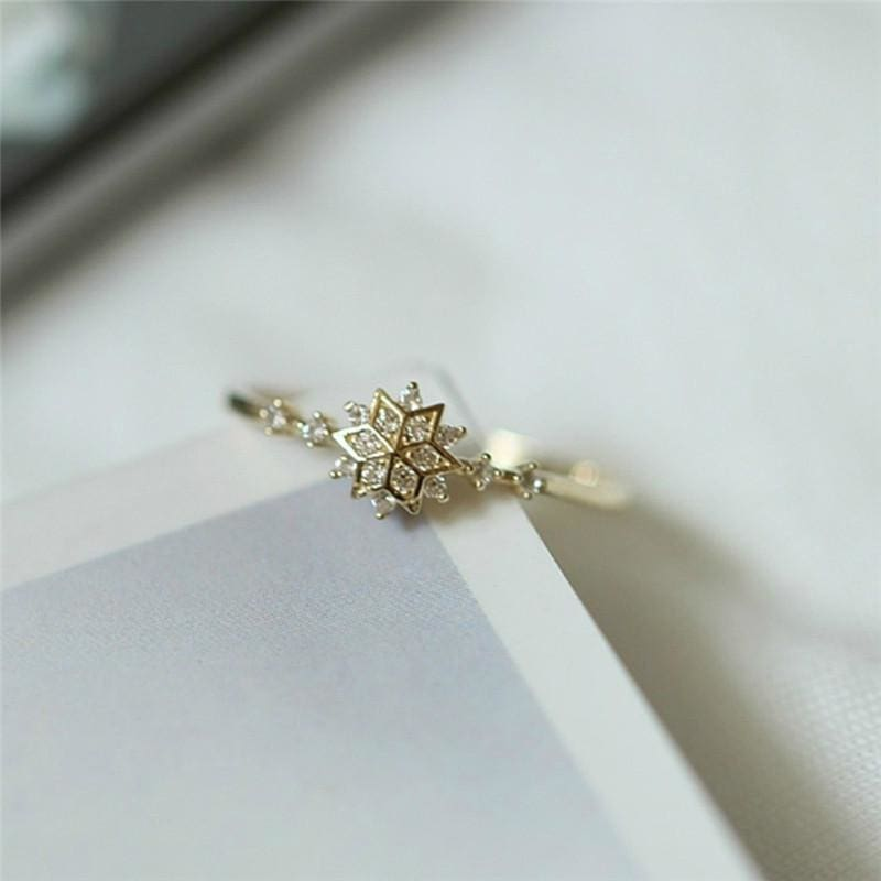 Crystallized Snowflake Dainty Ring