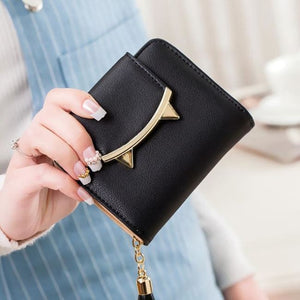 Cute Cat Leather Mini Wallet - Black