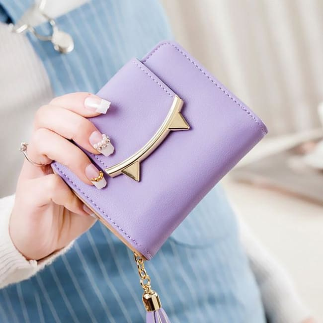 Cute Cat Leather Mini Wallet - Lavender