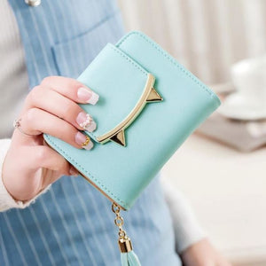 Cute Cat Leather Mini Wallet - Light Green