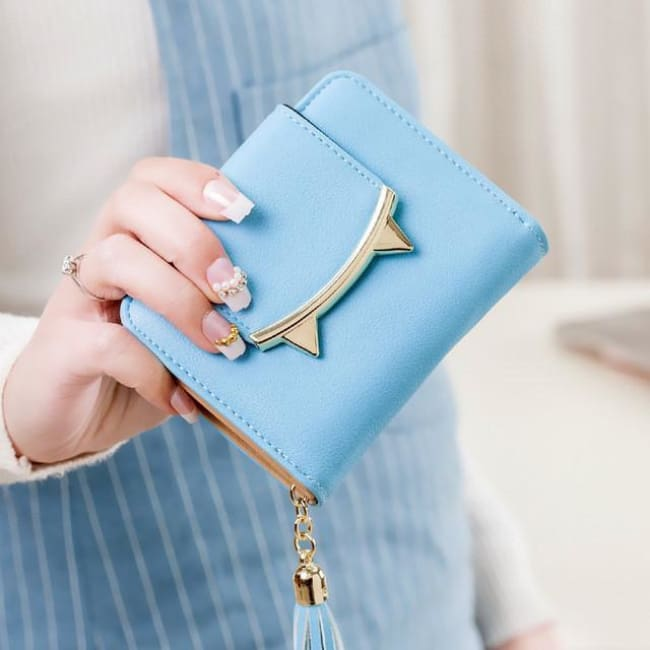 Cute Cat Leather Mini Wallet - Sky Blue
