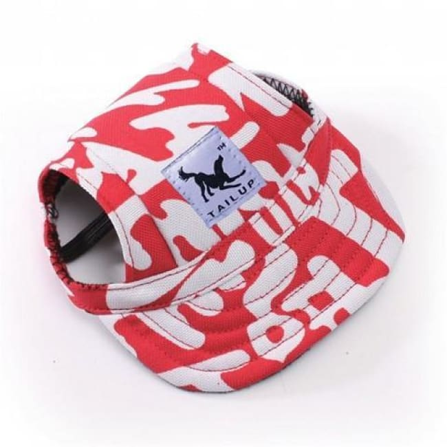 Cute Dog Baseball Cap - Red And White / S