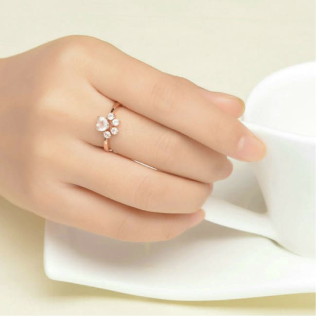 Cute Rose Paw Ring And Earrings Set