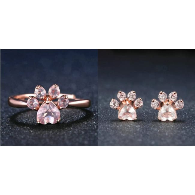 Cute Rose Paw Ring And Earrings Set - One Set