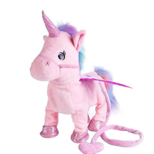 Electric Walking Unicorn Toy For Children Christmas Gifts - Pink - Electronic Plush Toys