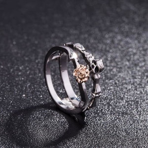 Floral Heart Skull And Bones Princess Ring Set For Women - Rings