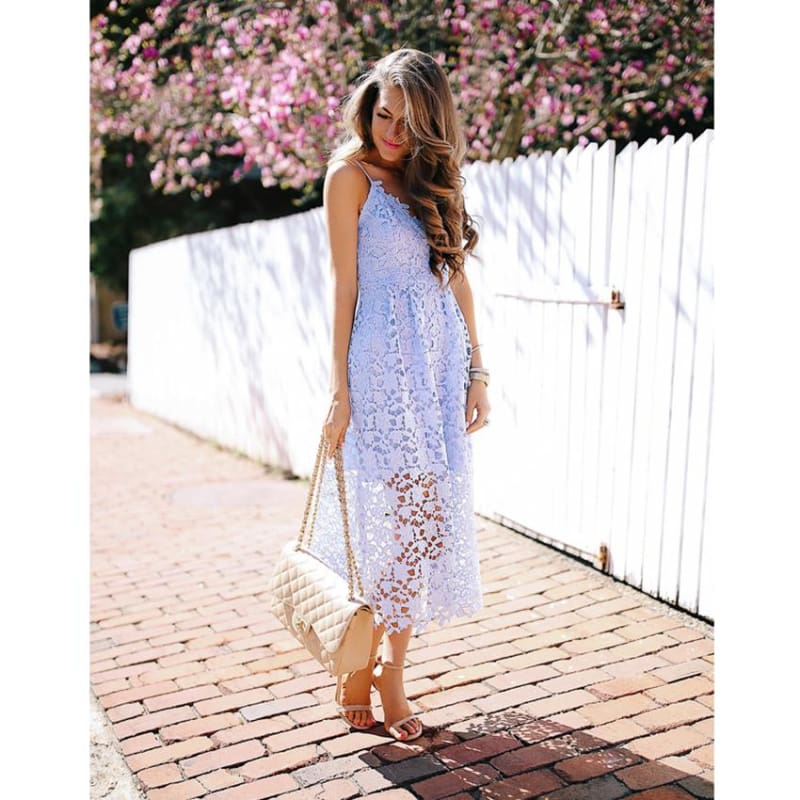 Flower Lace Dress - Dresses