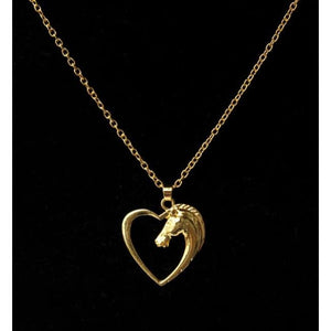 Horse In Our Heart Necklace - Gold-Color