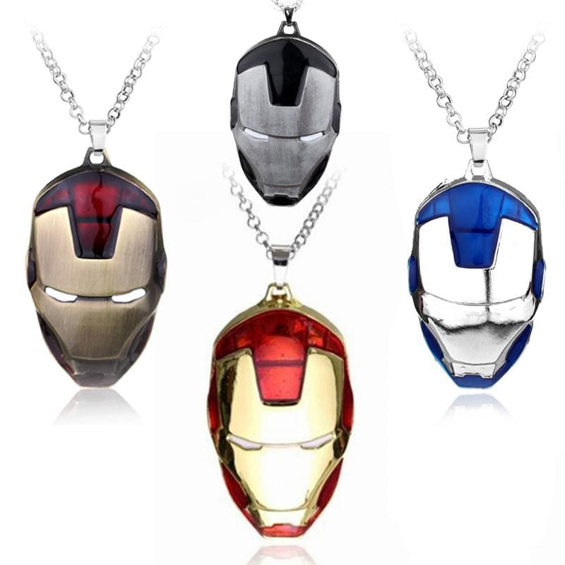 Iron Man Mask Pendant With Chain Necklace