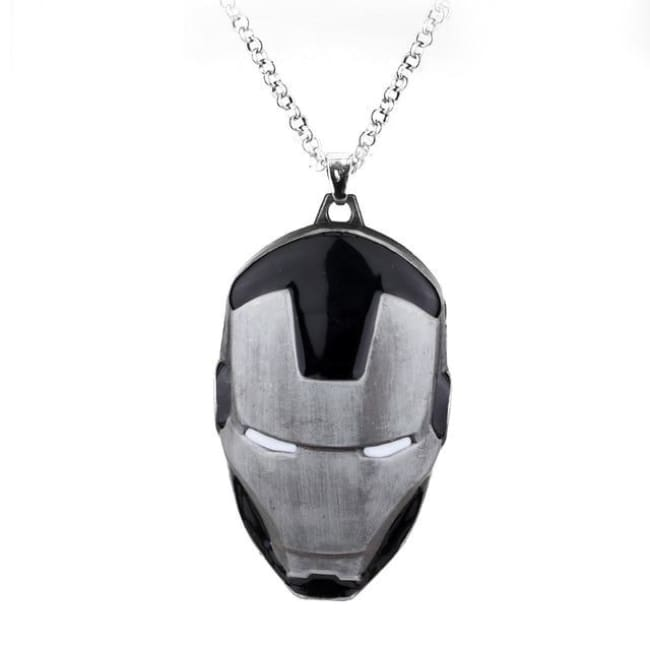 Iron Man Mask Pendant With Chain Necklace - Black