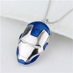 Iron Man Mask Pendant With Chain Necklace - Blue