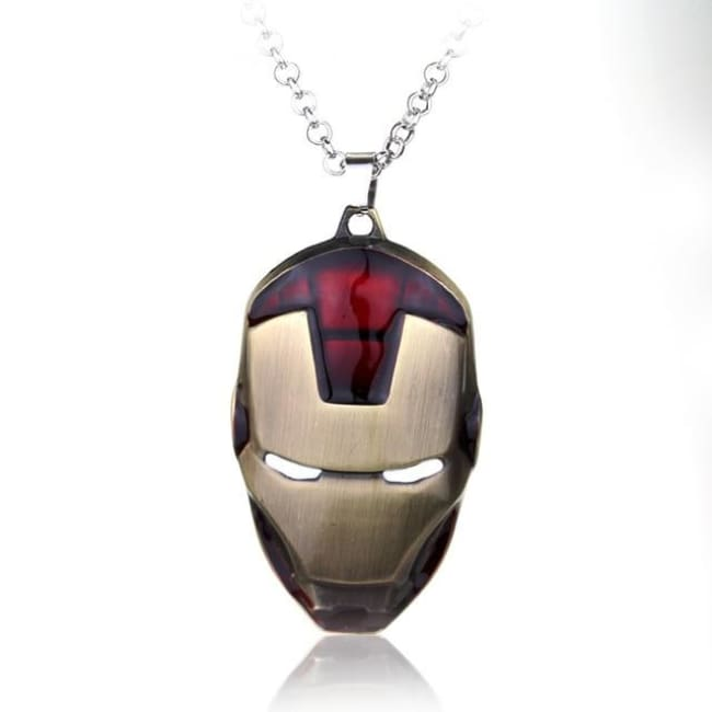 Iron Man Mask Pendant With Chain Necklace - Maroon