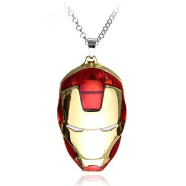 Iron Man Mask Pendant With Chain Necklace - Red