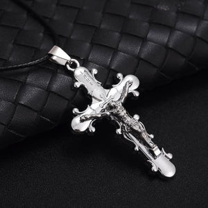 Jesus Cross Pendant Necklace - Silver