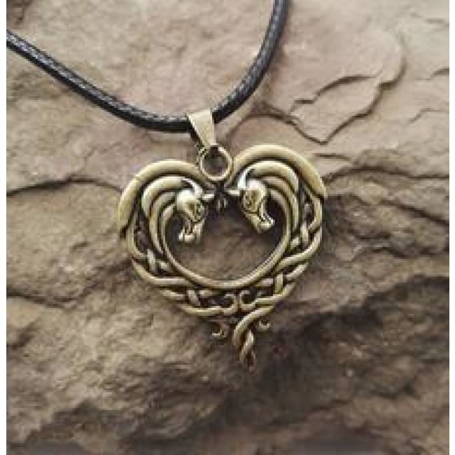 Jumbo Chain - Celtic Horse Heart Necklace - Antique Bronze Plated