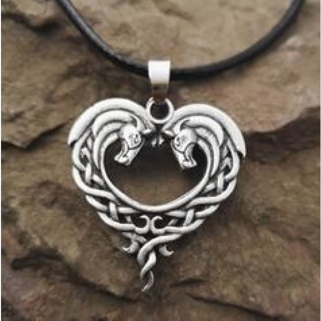 Jumbo Chain - Celtic Horse Heart Necklace - Antique Silver Plated