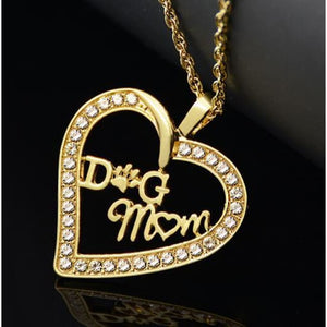 Jumbo Chain - Dog Mom Heart Necklace - Gold Plated