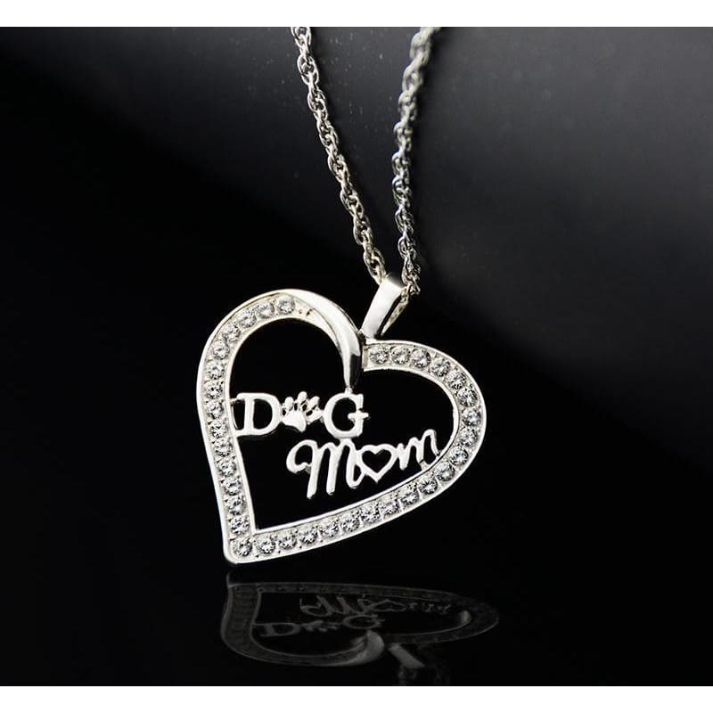 Jumbo Chain - Dog Mom Heart Necklace - Silver Plated