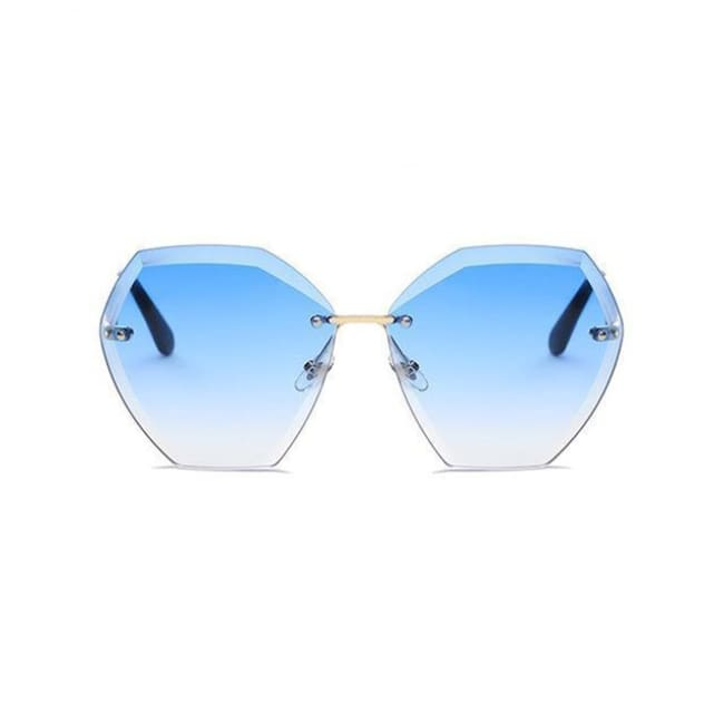 Jumbo Chain - Transparent Gradient Sun Glasses Women - Gold Blue - Sunglasses