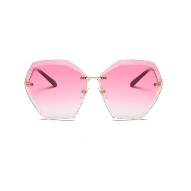 Jumbo Chain - Transparent Gradient Sun Glasses Women - Gold Pink Tea - Sunglasses