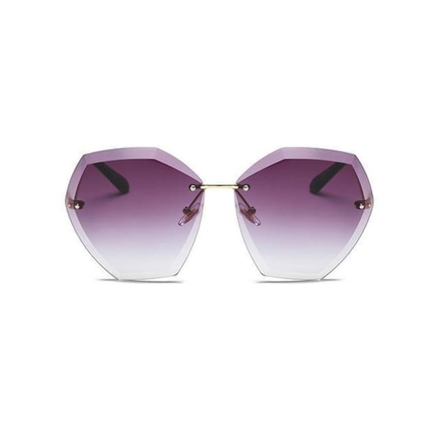 Jumbo Chain - Transparent Gradient Sun Glasses Women - Gold Purple - Sunglasses