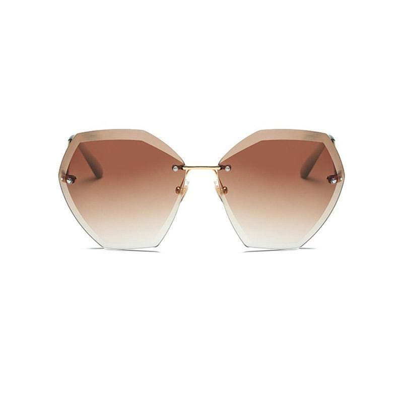 Jumbo Chain - Transparent Gradient Sun Glasses Women - Gold Tea - Sunglasses