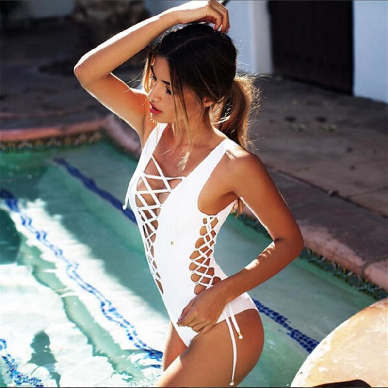 Kent White - Lace Up Detail Swimsuit - Body Suits