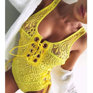 Lace Queen - One Piece Boho Inspired White Swimsuit - Yellow / S - Body Suits