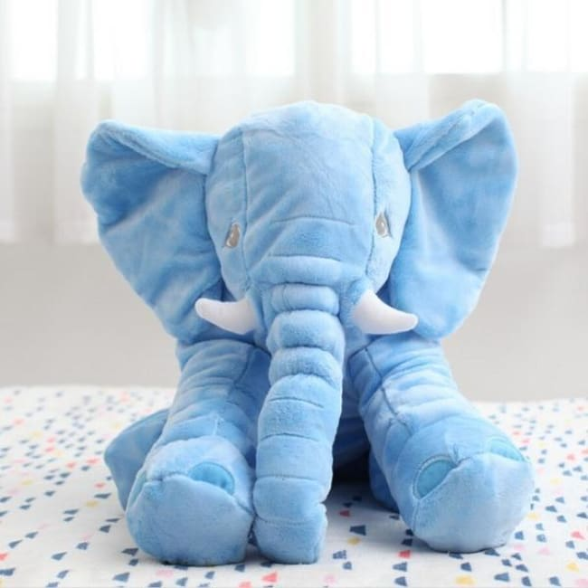 Large Stuffed Elephant Pillow - Blue