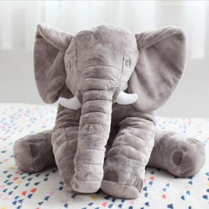 Large Stuffed Elephant Pillow - Grey