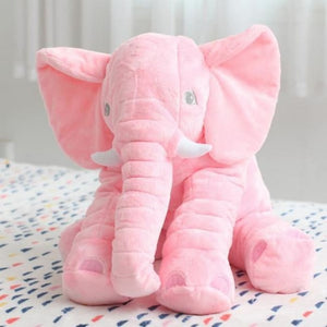 Large Stuffed Elephant Pillow - Pink