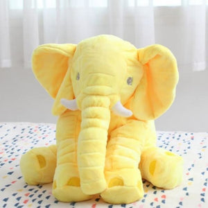 Large Stuffed Elephant Pillow - Yellow