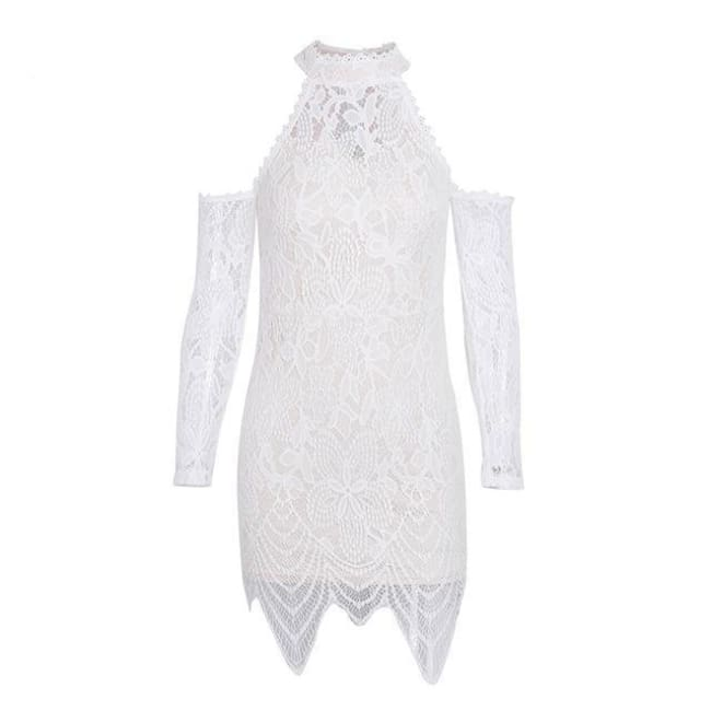 Lily - Cold Shoulder Dress - White / S - Dresses