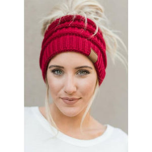Messy Bun / Ponytail Knitted Beanie