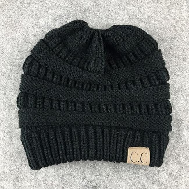 Messy Bun / Ponytail Knitted Beanie - Black