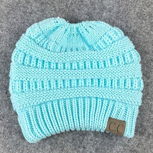 Messy Bun / Ponytail Knitted Beanie - Light Blue