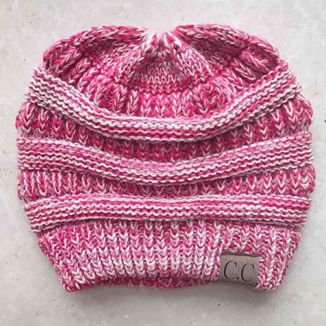 Messy Bun / Ponytail Knitted Beanie - Pink / As Picture
