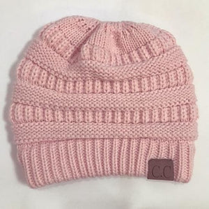 Messy Bun / Ponytail Knitted Beanie - Pink