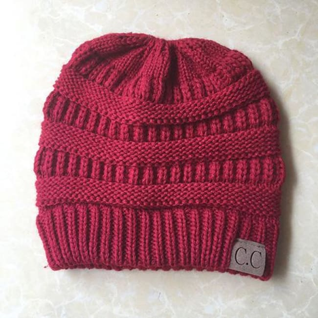 Messy Bun / Ponytail Knitted Beanie - Red