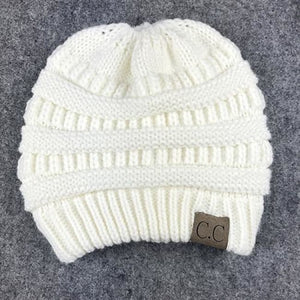 Messy Bun / Ponytail Knitted Beanie - White
