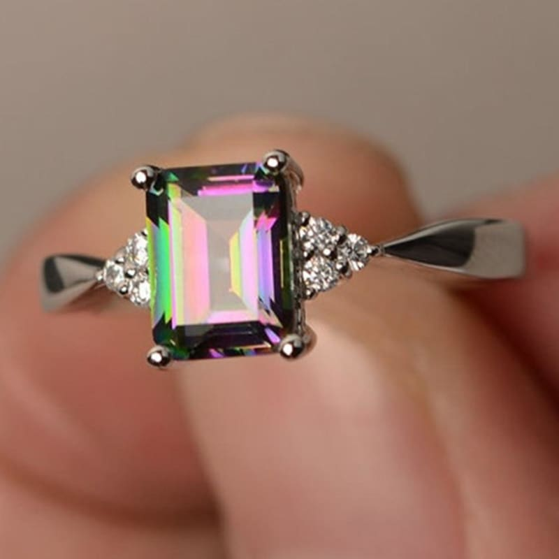 Mystic Multicolor Square Shaped Ring