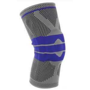 Nylon Silicone Compression Knee Sleeve Support - Grey / L - Elbow & Knee Pads