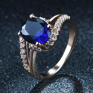 Oval Shaped Quartz Gem Ring - 6 / Blue
