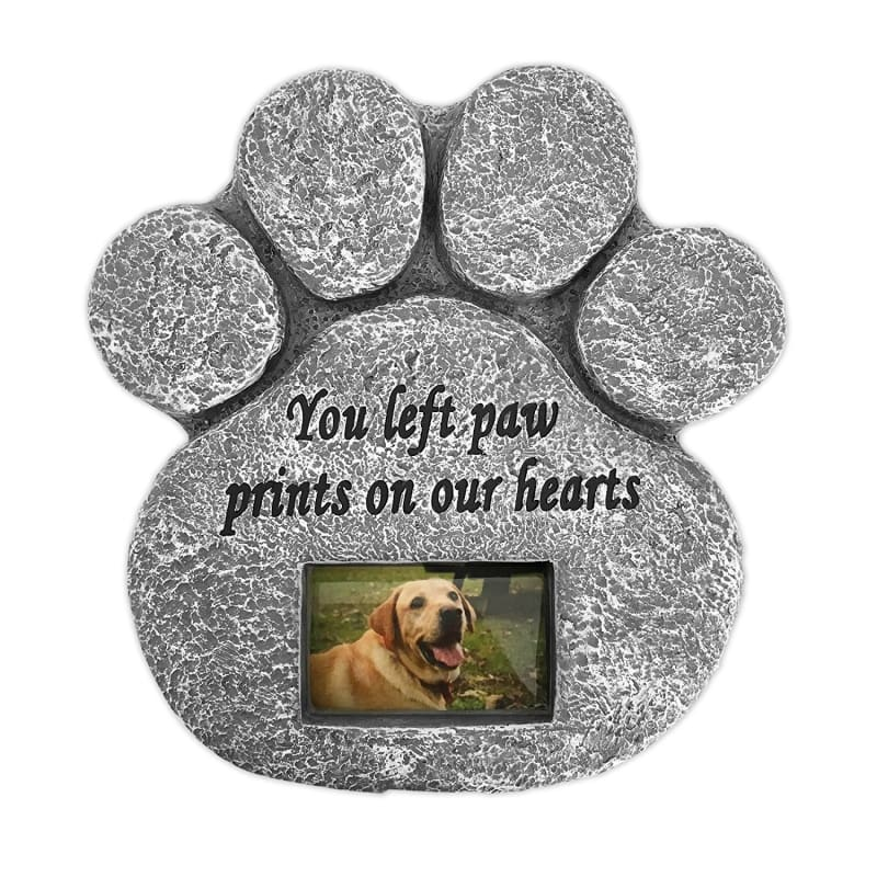 Paw Print Pet Memorial Stone With Photo Frame - 1