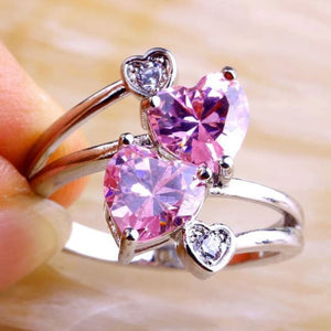 Pink Hearts Ring