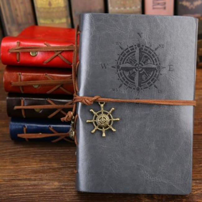 Pirate Leather Vintage Notebook - Gray / 16.5X23.5Cm/5.1X7.2 In