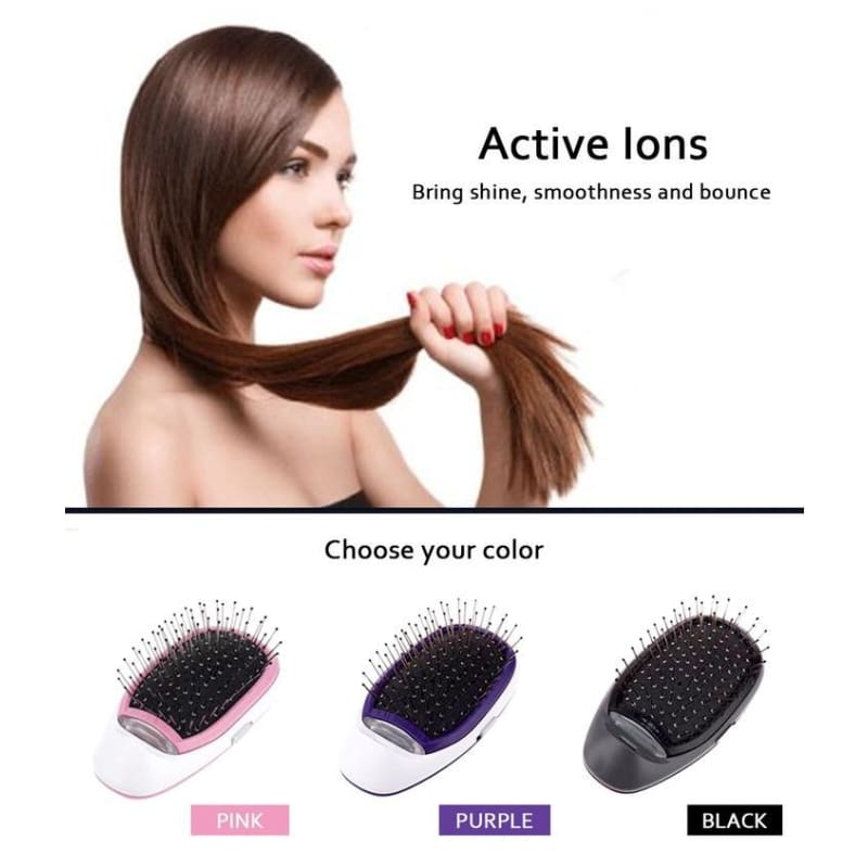 Portable Electric Ionic Hairbrush - Combs