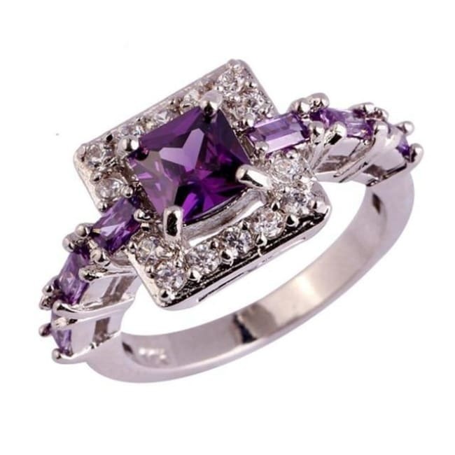 Princess Cut Amethyst Ring - 10